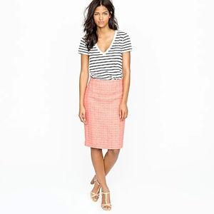 J. Crew No. 2 Pencil Skirt in Neon Tweed, Size 8